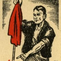 Arbeiderpartiets 1. mai-merke fra 1928 (OBS! er ikke i samlingen) men ligger i Arbeiderbevegelsen arkiv Bilde tilhører digitalt museum
