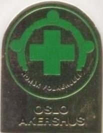 Norsk Folkehjelp pin fra Oslo og Akershus fra 90 tallet ( ligger i samlingen til Aksel Rigmund Hjelland)