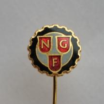 Norsk Grafisk Forbunds pin fra sammenslåingen av flere forbund til Norsk Grafisk forbund i 1967 (Nålen ligger i samlingen til Ralf Stahlke)
