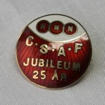 NNN - Chokolade og sukkervarearbeidernes forening nål for 25 års medlemskap (etablert 17 mars 1902)