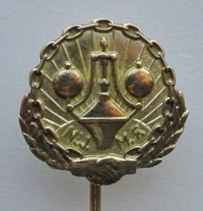Norsk Jern og metall arbeiderforbund 25 års merke for aktiv med tillitsverv i gull (ligger i samlingen til Max)