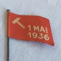 1 mai merke 1936 forside. Merke ligger i samlingen til M. Østby