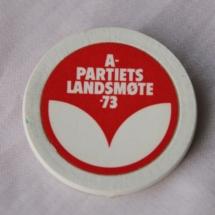 Landsmøtemerke fra Arbeiderpartiet 1973