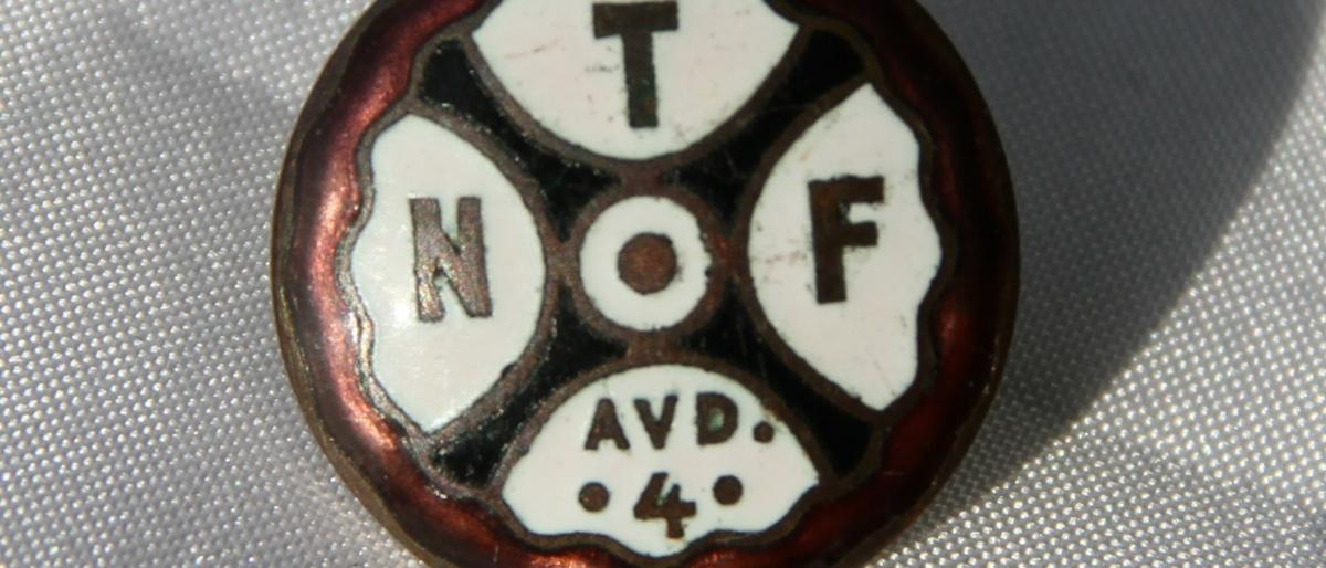 Eldre pin fra Norsk Transportarbeiderforbund avd 4 i Oslo, Nå avdeling 4 i Fellesforbundet